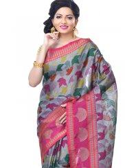 Zari Banarasi Silk Grey Classic Designer Saree