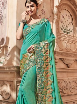 Zari Blue Designer Traditional Saree