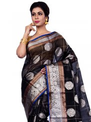 Zari Chanderi Classic Designer Saree in Black