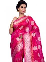 Zari Chanderi Classic Designer Saree in Pink