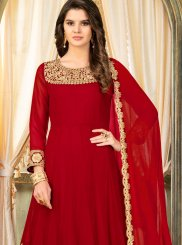 Zari Faux Georgette Anarkali Salwar Kameez in Red