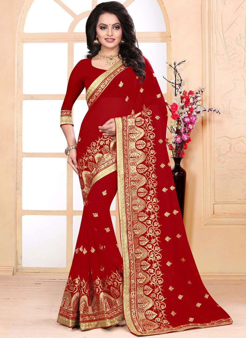 Zari Faux Georgette Classic Saree in Red