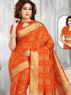 Zari Orange Designer Saree