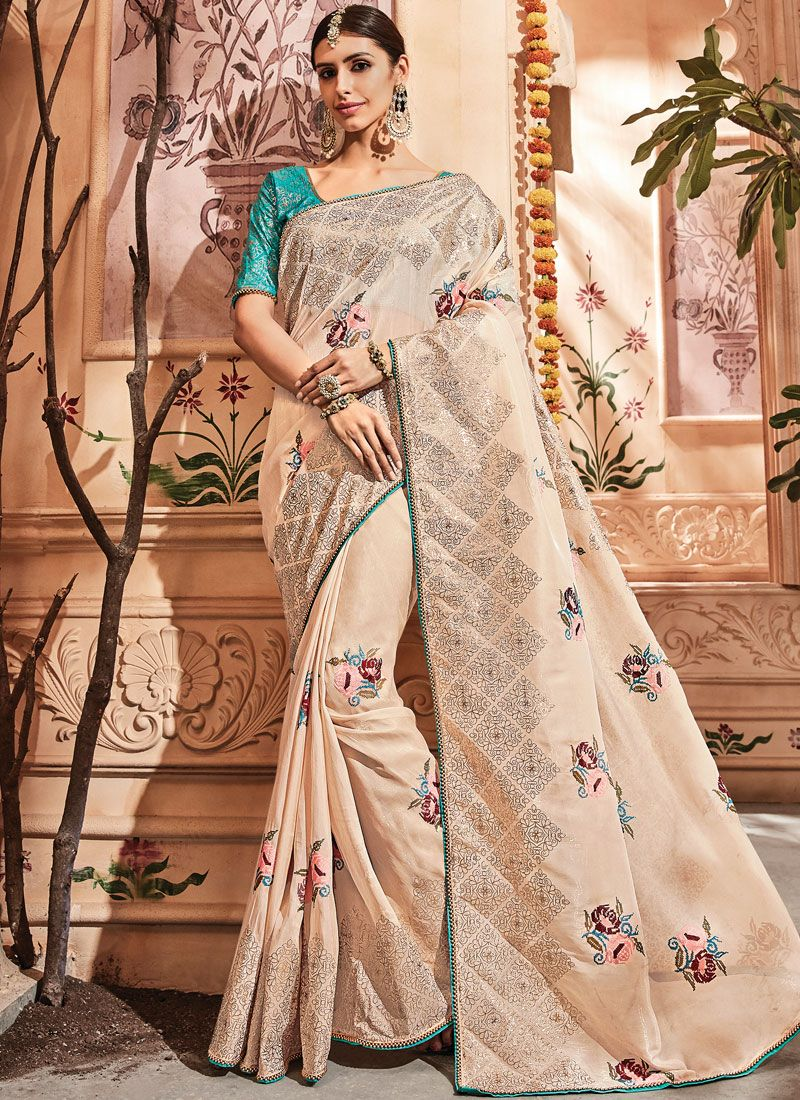 Zari Peach Art Silk Traditional Designer Saree