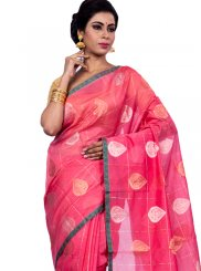 Zari Peach Chanderi Classic Saree