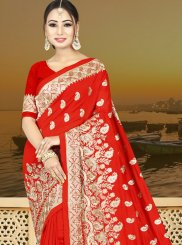 Zari Red Art Silk Traditional Designer Saree
