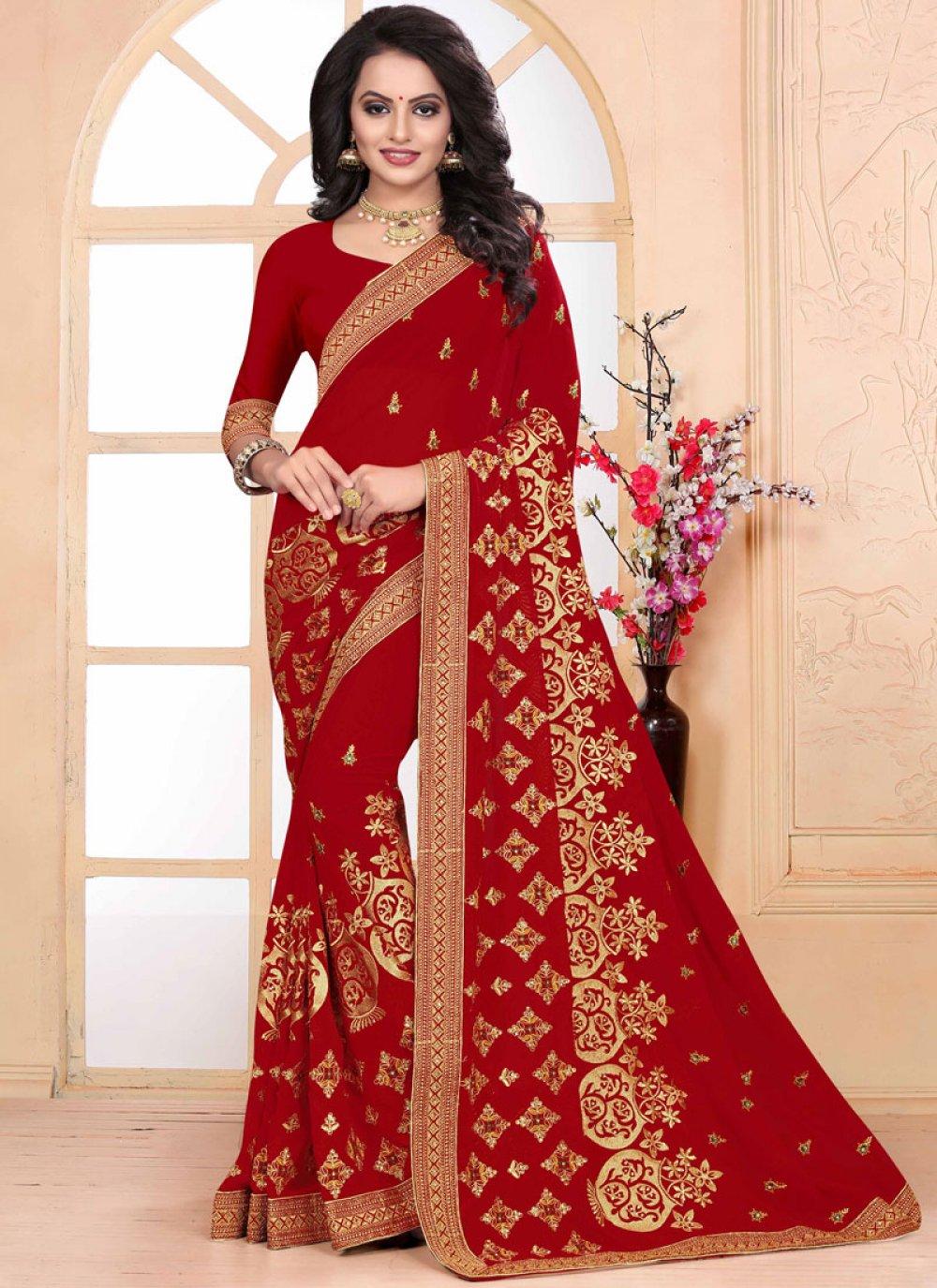 Zari Red Classic Saree