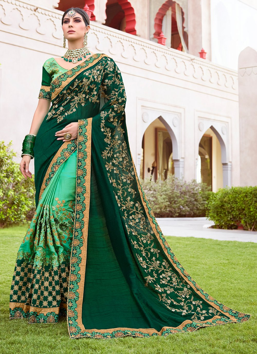 Zari Wedding Designer Half N Half Saree