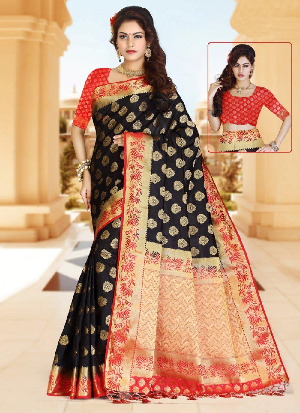 Zari Work Black and Red Classic Designer Saree