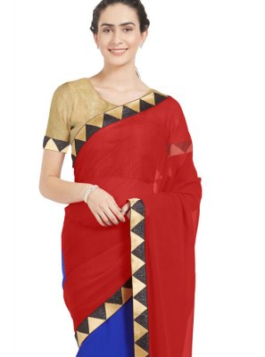 Zari Work Blue and Red Casual Saree