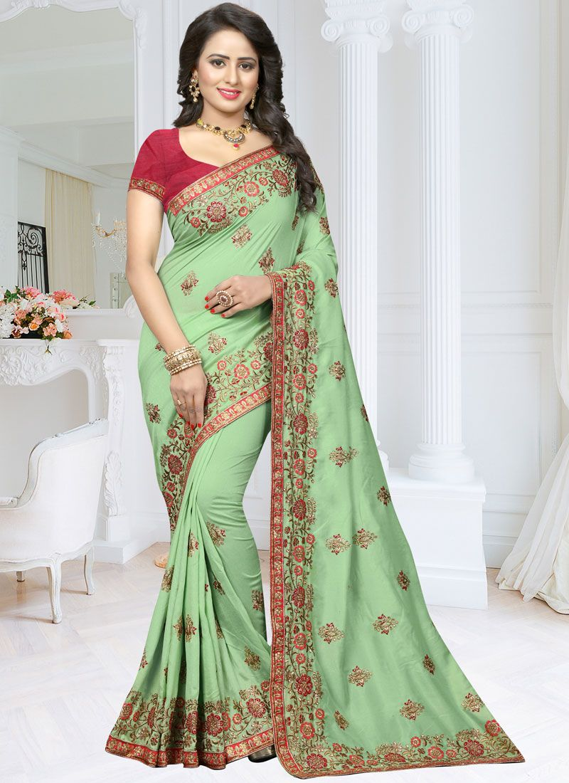 Zari Work Green Art Silk Designer Traditional Saree