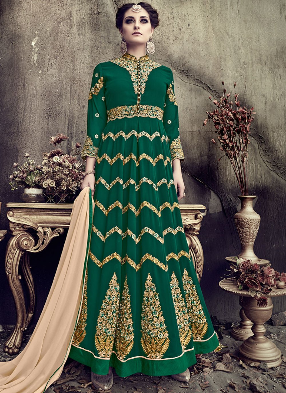 Zari Work Green Faux Georgette Floor Length Anarkali Suit