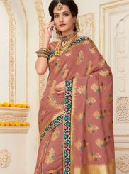 Zari Work Mauve  Traditional Designer Saree
