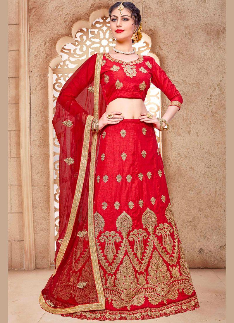 Zari Work Red Malbari Silk  Lehenga Choli