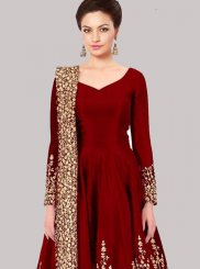 Zari Work Red Tafeta silk Floor Length Anarkali Suit