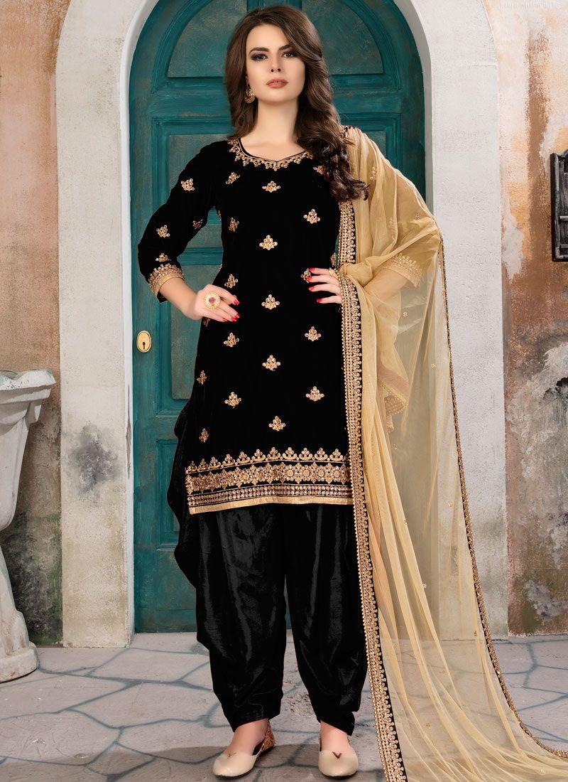 Zari Work Velvet Punjabi Suit