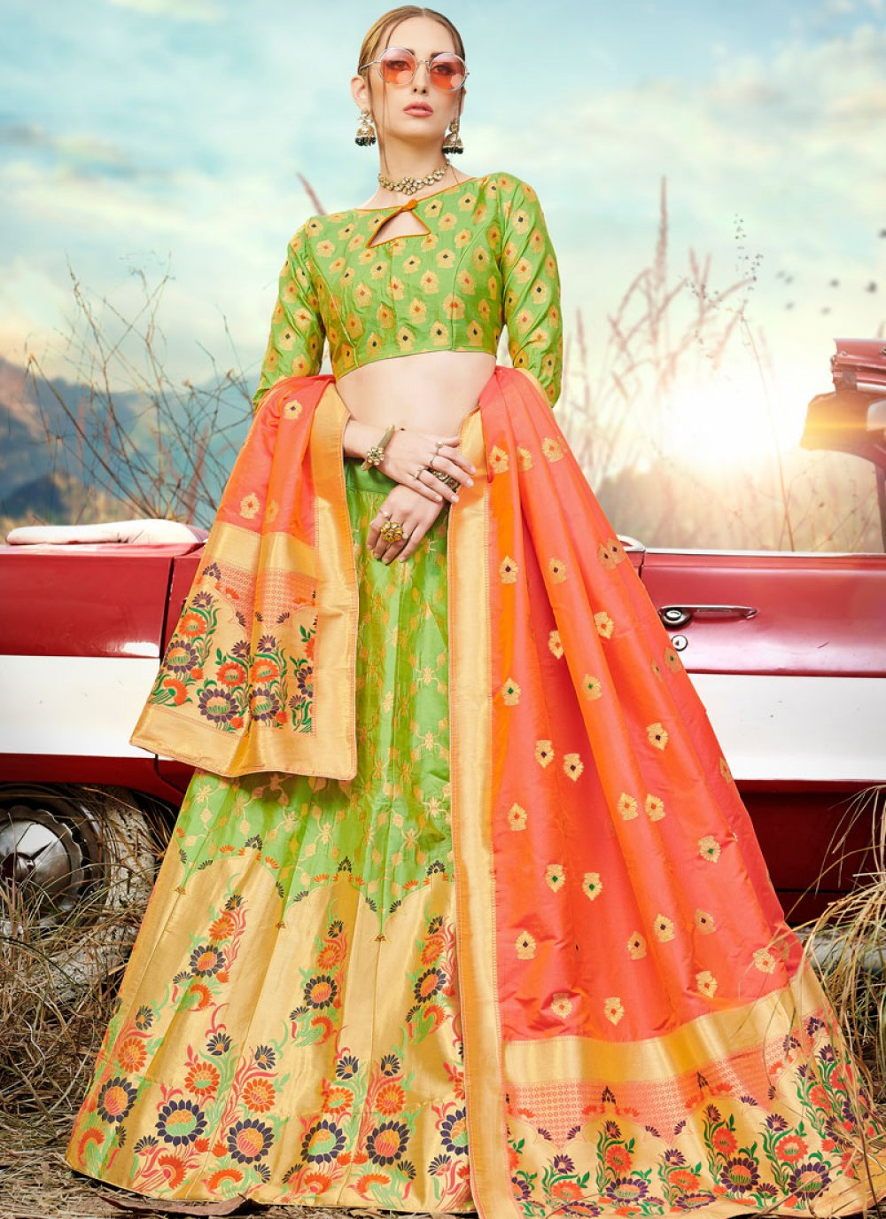 A Line Lehenga Choli Embroidered Banarasi Silk in Green