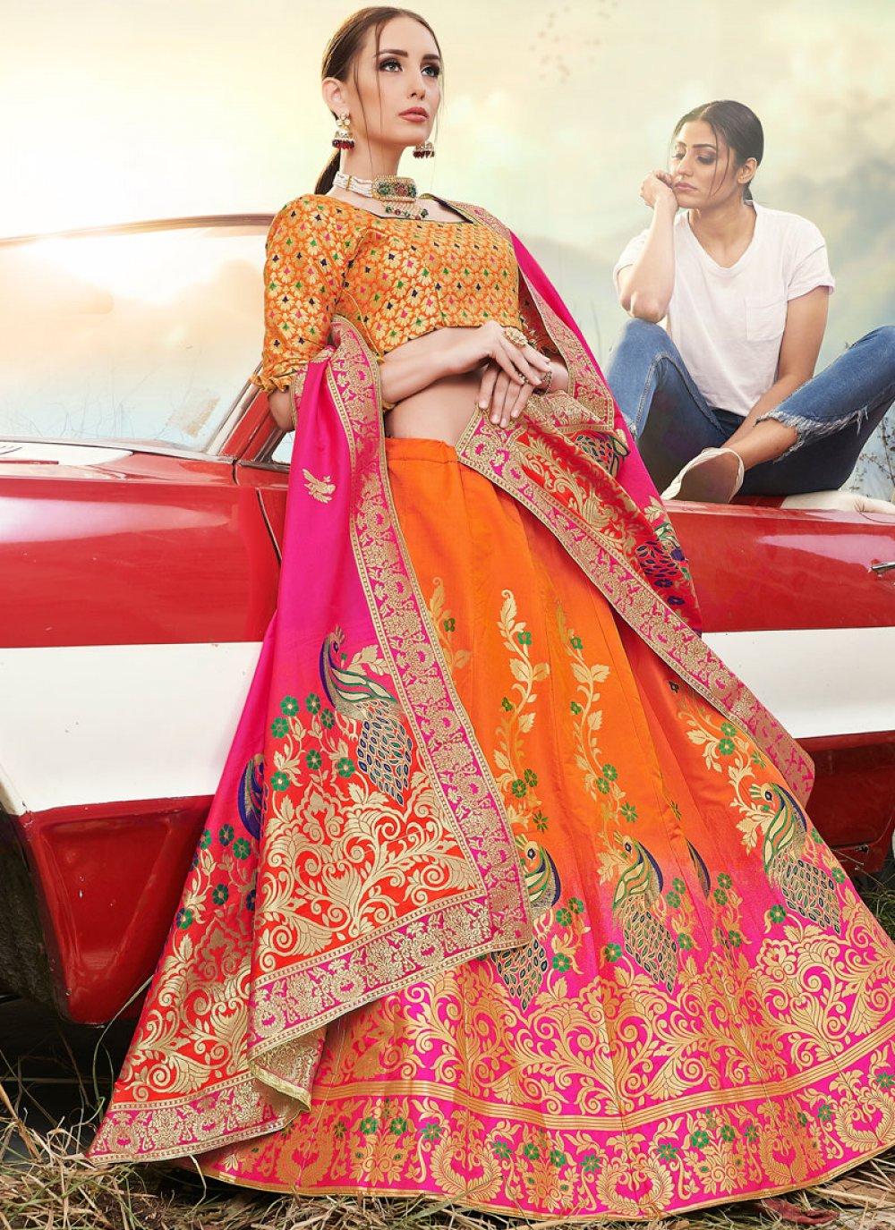 A Line Lehenga Choli Embroidered Banarasi Silk in Orange