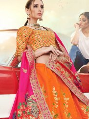 A Line Lehenga Choli Embroidered Banarasi Silk in Orange