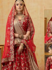 A Line Lehenga Choli Embroidered Velvet in Red