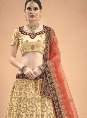 A Line Lehenga Choli Thread Work Satin in Beige