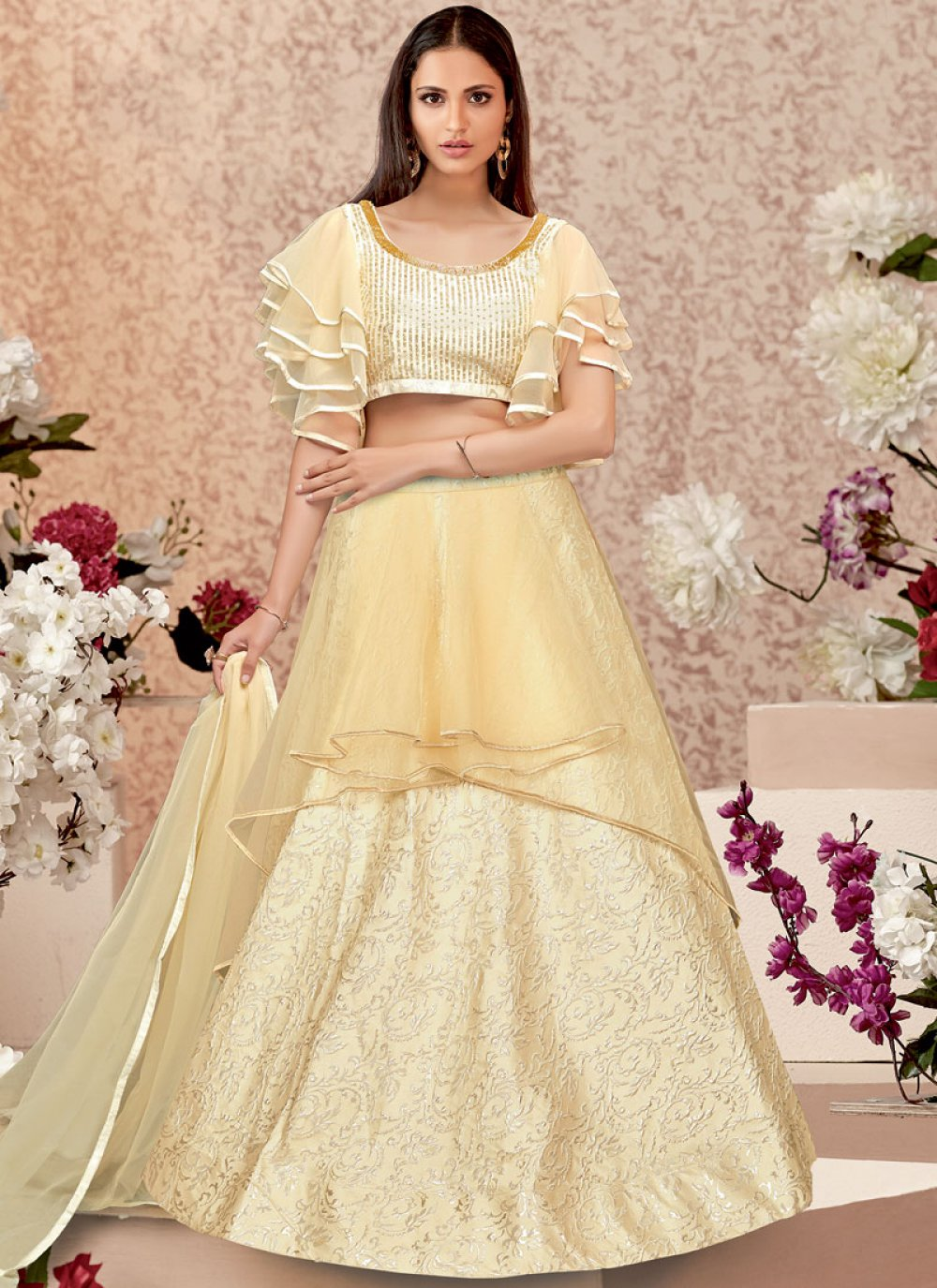 A Line Lehenga Choli Zari Jacquard Silk in Cream