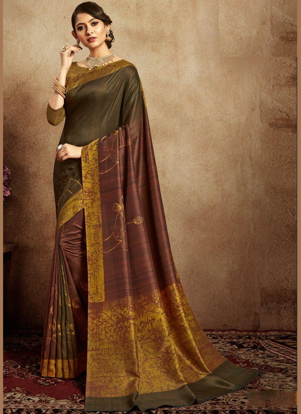 Abstract Print Art Silk Multi Colour Printed Saree