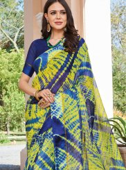 Abstract Print Art Silk Multi Colour Printed Saree