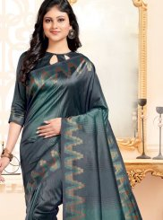 Abstract Print Art Silk Multi Colour Traditional Designer Saree