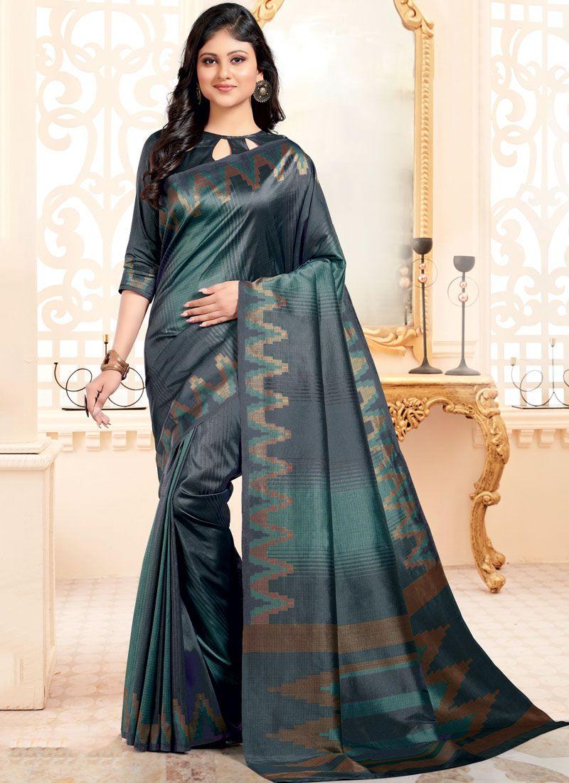 Abstract Print Art Silk Multi Colour Traditional Designer Saree