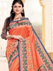 Abstract Print Art Silk Multi Colour Traditional Saree