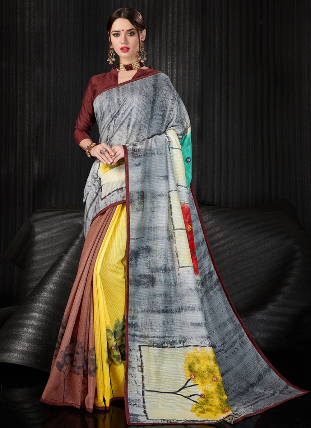 Abstract Print Art Silk Printed Saree