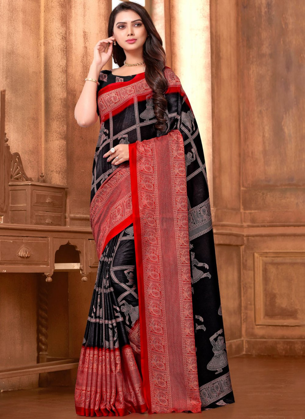 Abstract Print Art Silk Printed Saree in Black