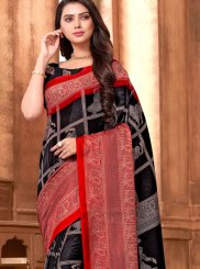 Abstract Print Art Silk Printed Saree in Black