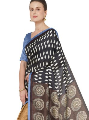 Abstract Print Art Silk Printed Saree in Multi Colour