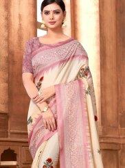 Abstract Print Art Silk Printed Saree in Multi Colour