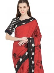 Abstract Print Art Silk Red Casual Saree