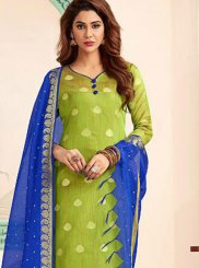 Abstract Print Banarasi Silk Blue and Green Trendy Churidar Salwar Suit
