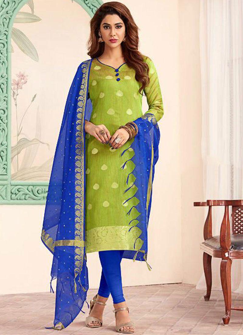 Abstract Print Banarasi Silk Blue and Green Trendy Churidar Salwar Suit
