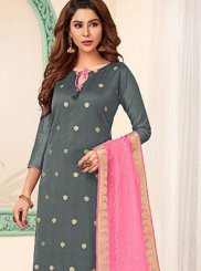 Abstract Print Banarasi Silk Grey and Pink Trendy Churidar Suit