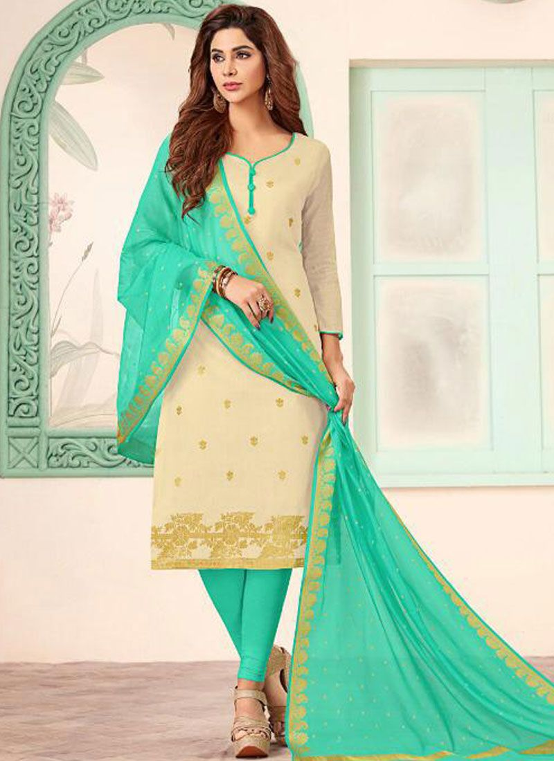 Abstract Print Beige and Green Churidar Salwar Kameez
