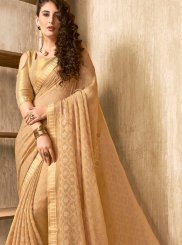 Abstract Print Beige Faux Chiffon Printed Saree