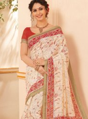 Abstract Print Beige Printed Saree