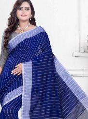 Abstract Print Blue Printed Saree