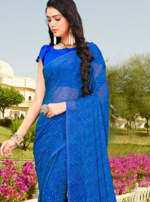 Abstract Print Blue Printed Saree