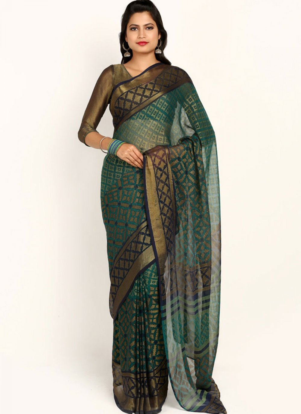 Abstract Print Brasso Casual Saree