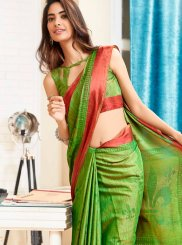 Abstract Print Brasso Multi Colour Printed Saree