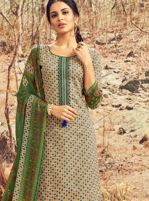 Abstract Print Cotton Designer Palazzo Suit in Multi Colour