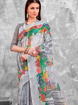 Abstract Print Cotton Printed Saree in Multi Colour