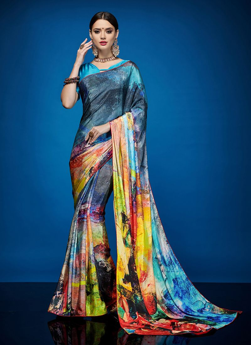 Abstract Print Crepe Silk Casual Saree in Multi Colour